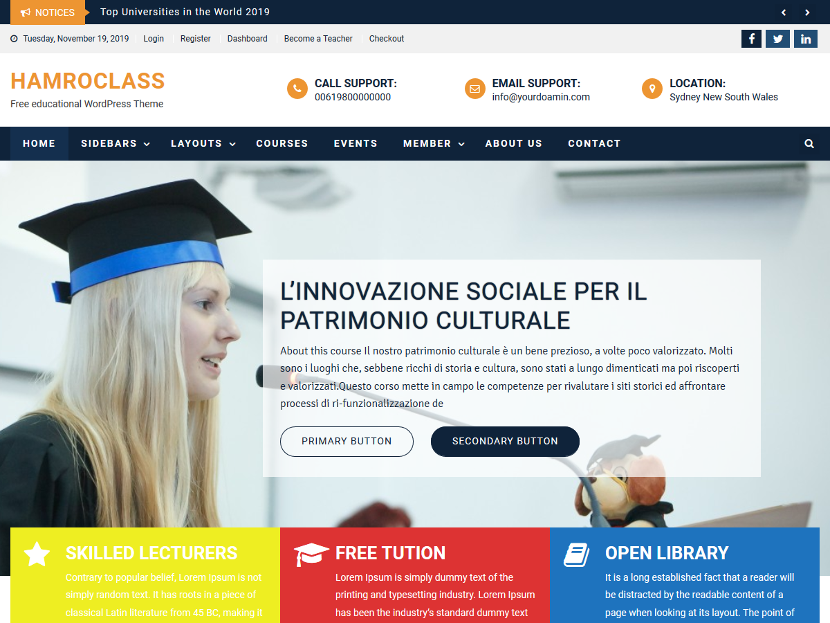 HamroClass - Education WordPress Theme