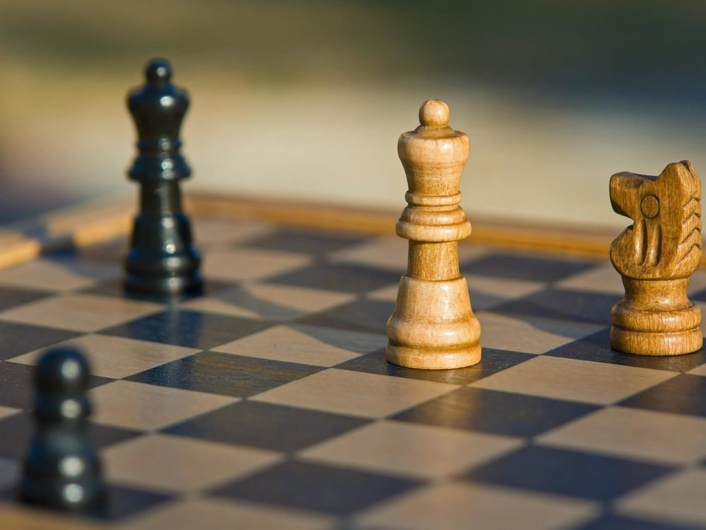 A chess set in the array, or starting position.